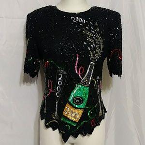 Lawrence Kazar Sequin Black Year 2000 Silk Blouse
